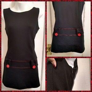 Black Mod Mini Dress Swinging 60s Vibes US Sz M